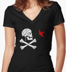 The Flag of Captain Jack Sparrow Women's Fitted V-Neck T-Shirt