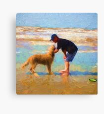 """Achillies' First Day at the Beach"" Canvas Print"
