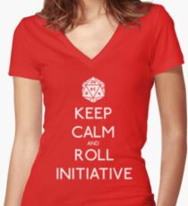 Keep Calm and Roll Initiative Women's Fitted V-Neck T-Shirt