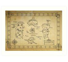 Azeroth map - old hand drawn Art Print