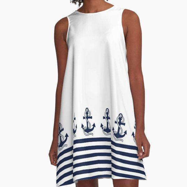 Nautical Navy Blue Stripes and Blue Anchor A-Line Dress
