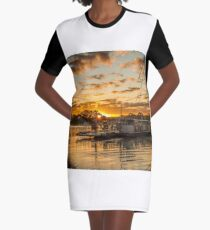 Golden Ferry Graphic T-Shirt Dress
