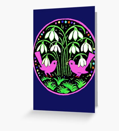 Two Little Birds, Pink Greeting Card