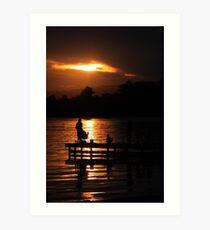 Fishing at dusk Art Print