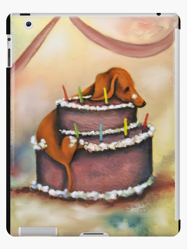 Stupendous Dachshund Dog Birthday Cake Card Whimsical Ipad Case Skin By Funny Birthday Cards Online Unhofree Goldxyz
