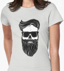 Ray's black bearded skull  Women's Fitted T-Shirt