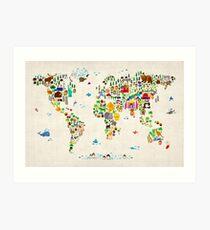 Animal Map of the World Art Print