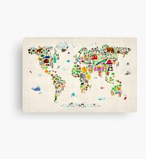 Animal Map of the World Canvas Print
