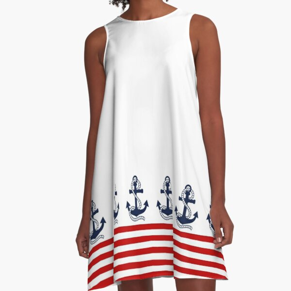 Nautical red and white stripes with a navy blue anchor A-Line Dress