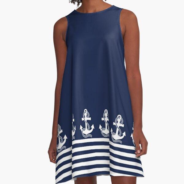 Nautical Navy Blue Stripes and White Anchor A-Line Dress