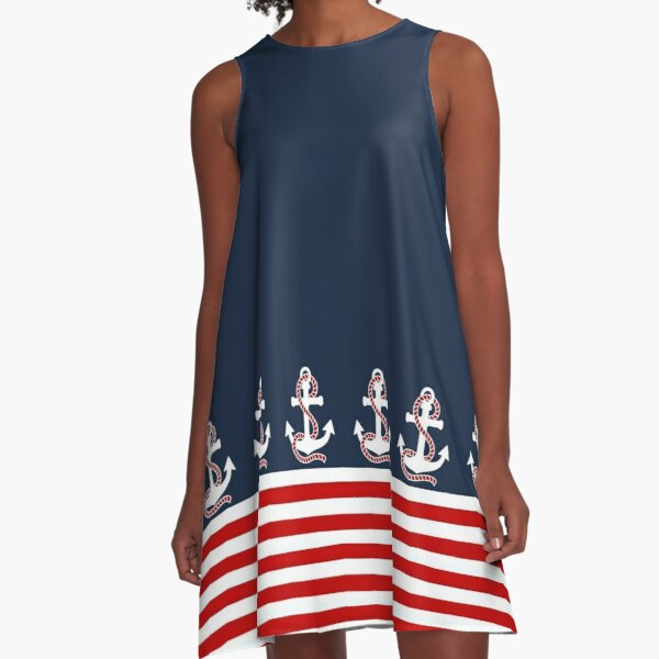 Nautical red white stripes and red anchor on blue background A-Line Dress