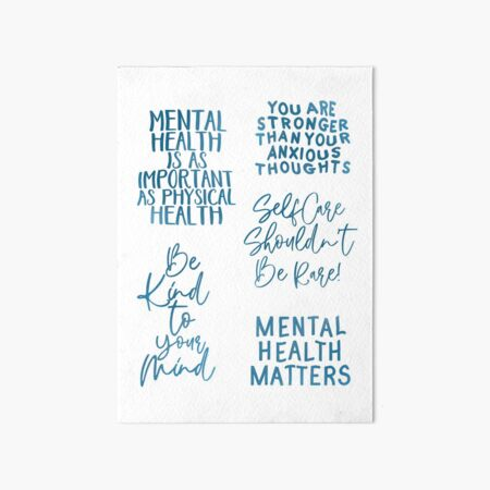 Mental Health Messages And Reminders Sticker Pack Blue Art Board Print