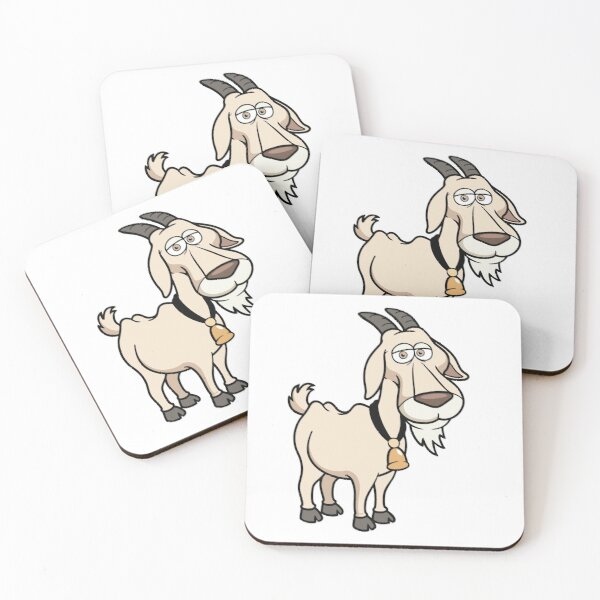 Adult Mountain Domestic Goat Vector Art Coasters (Set of 4)
