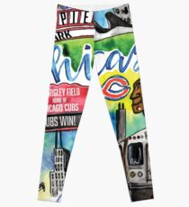 Chicago Collage Watercolor Leggings