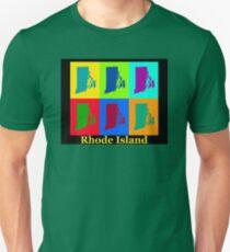 Colorful Rhode Island Pop Art Map T-Shirt