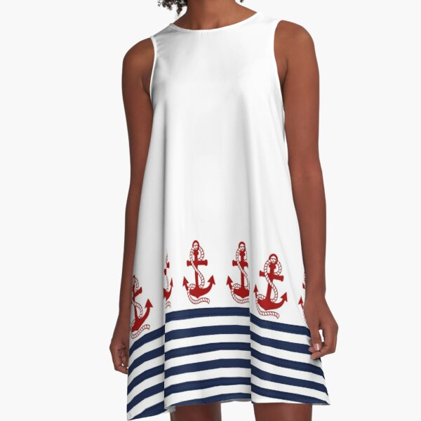 Nautical navy blue and white stripes with a red anchor A-Line Dress