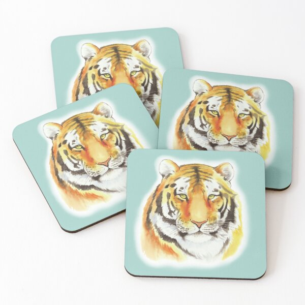 Tiger Face Coasters (Set of 4)