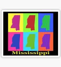 Colorful Mississippi State Pop Art Map Sticker