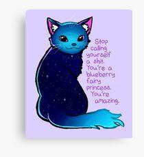 """You're A Blueberry Fairy Princess"" Galaxy Cat Canvas Print"