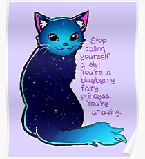"""""""You're A Blueberry Fairy Princess"""" Galaxy Cat Poster"""
