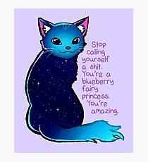 """""""Du bist eine Blueberry Fee Prinzessin"""" Galaxy Cat Fotodruck"""