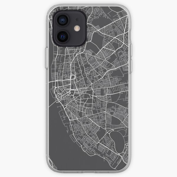 Liverpool Map, England - Gray iPhone Soft Case