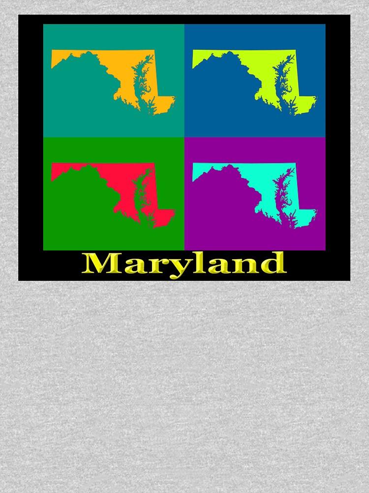 Colorful Maryland Pop Art Map by KWJphotoart