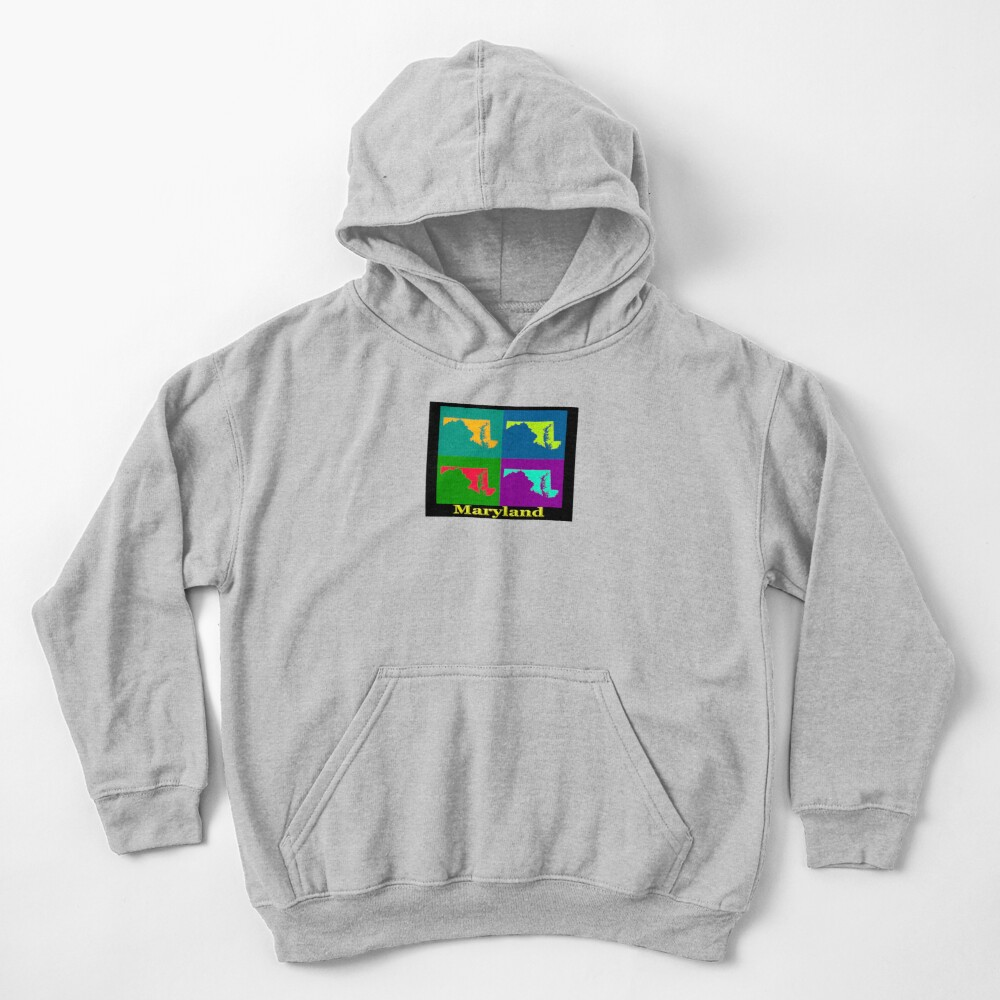 Colorful Maryland Pop Art Map Kids Pullover Hoodie