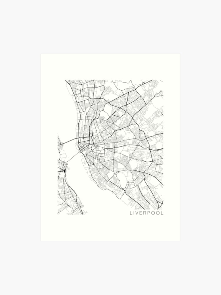 Liverpool Map, England - Black and White