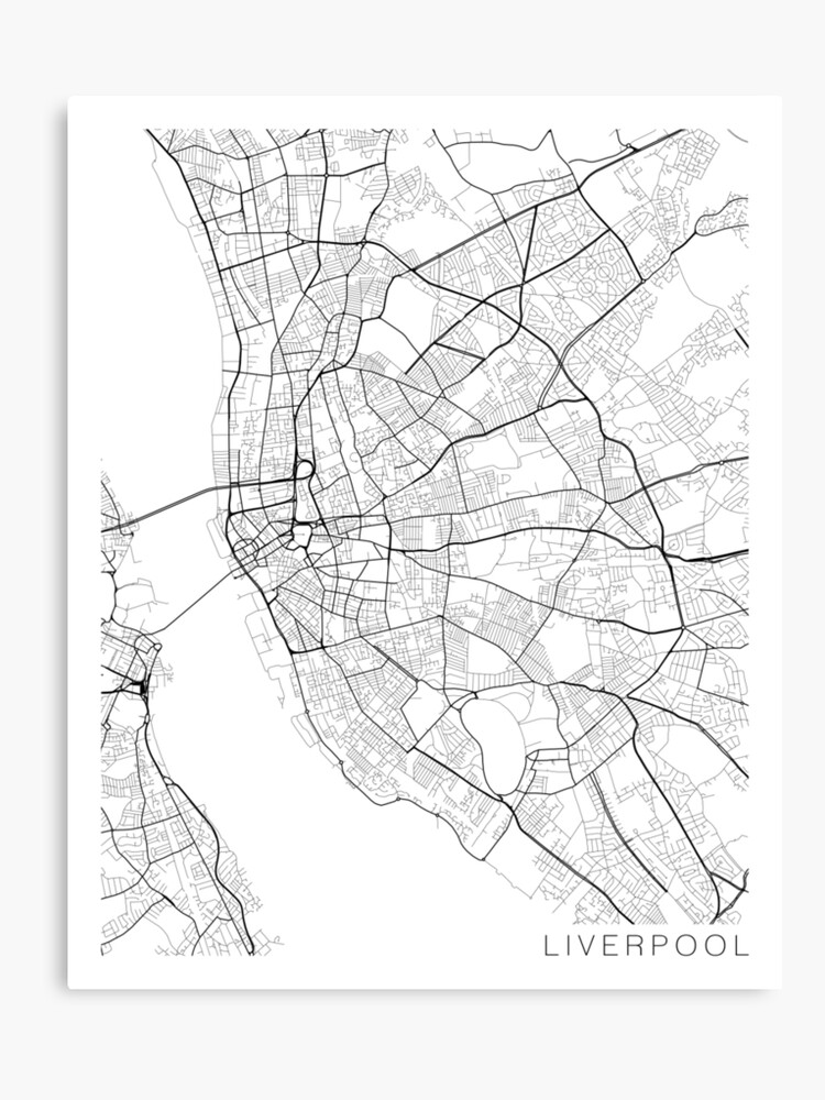 graphic relating to Printable Maps of England named Liverpool Map, England - Black and White Canvas Print