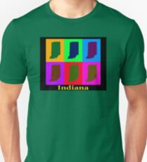 Colorful Indiana State Pop Art Map T-Shirt