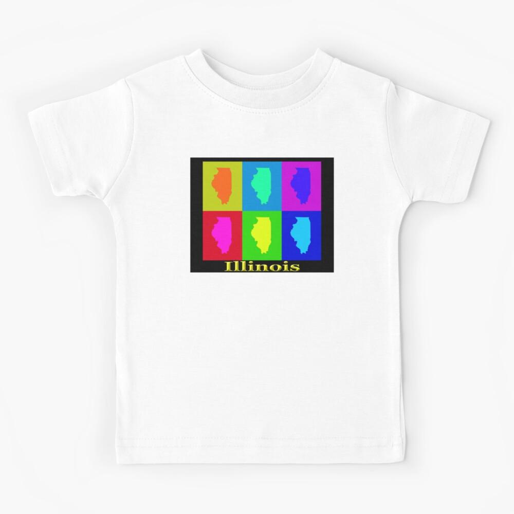 Colorful Illinois State Pop Art Map Kids T-Shirt