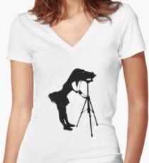 Photographer Grrl Women's Fitted V-Neck T-Shirt