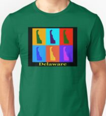 Colorful Delaware State Pop Art Map T-Shirt