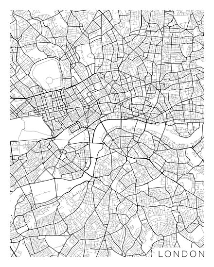 London Map, England - Black and White by MainStreetMaps