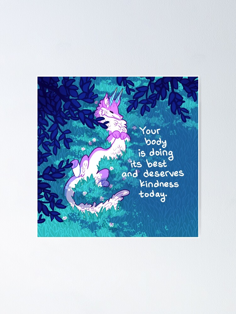 """Alternate view of """"Your Body is Doing its Best"""" Furry Forest Dragon Poster"""