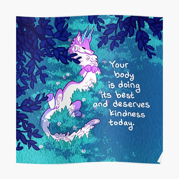 """""""Your Body is Doing its Best"""" Furry Forest Dragon Poster"""