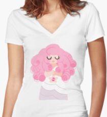 Rose Quartz Steven Universe Women's Fitted V-Neck T-Shirt