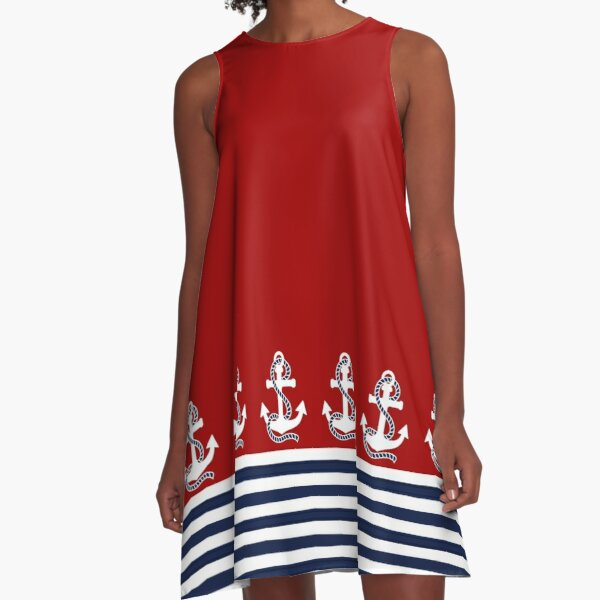 Nautical red white stripes and blue anchors on red background A-Line Dress