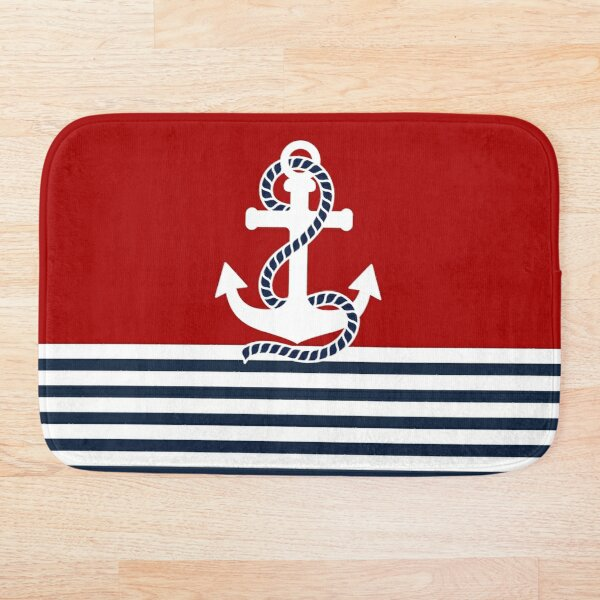 Nautical red white stripes and blue anchors on red background Bath Mat