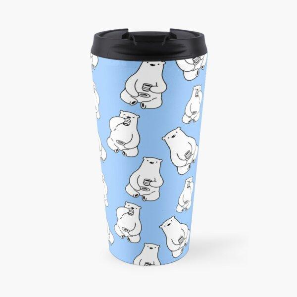Bearly Awake Polar Bear Drinking Coffee Travel Mug