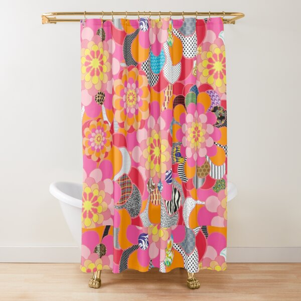 Abstract Art Background Colorful Floral Flowers Shower Curtain