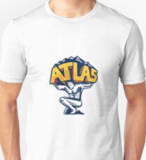 Atlas Lifting Mountain Kneeling Woodcut T-Shirt