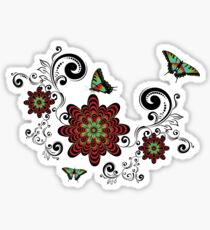 Vintage Floral with Butterflies Sticker