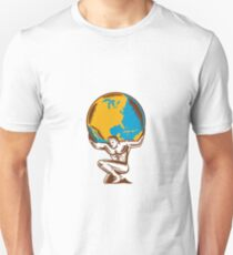 Atlas Lifting Globe Kneeling Woodcut Unisex T-Shirt