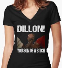 Schwarzenegger Dillon Predator Arm Wrestle  Women's Fitted V-Neck T-Shirt