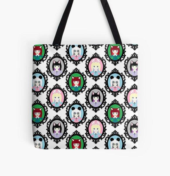 Kawaii Cosplay Girl - Bunny, Fox, Panda & Cat All Over Print Tote Bag