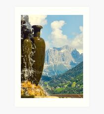 Fountain with the Dolomites beyond Art Print