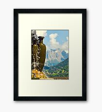 Fountain with the Dolomites beyond Framed Print
