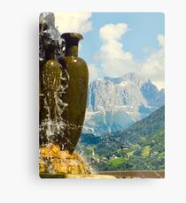 Fountain with the Dolomites beyond Metal Print